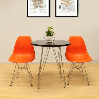 Confer 3 Piece Dining Set Chair Finish: Orange, Table Finish: Black