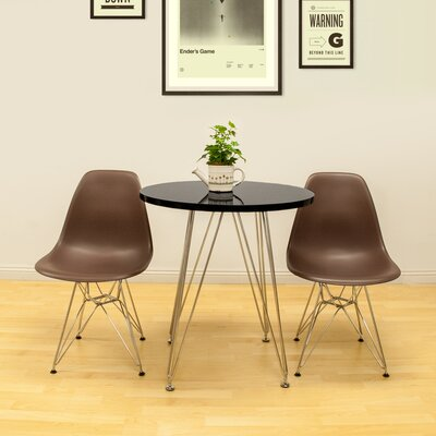 Confer 3 Piece Dining Set Chair Finish: Chocolate, Table Finish: Black