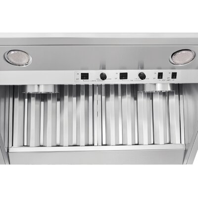 """30"""" Professional Ducted Wall Mount Range Hood Blower Direction: Back"""