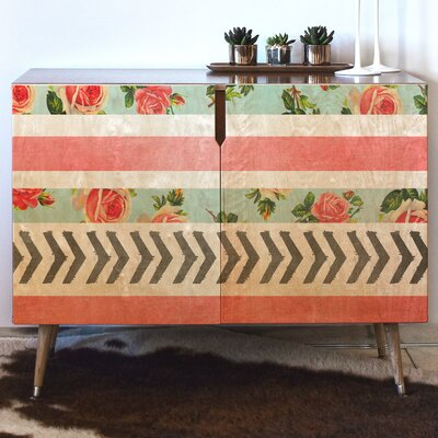 Floral Stripes and Arrows Accent Cabinet