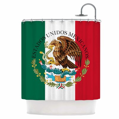 Mexico Flag and Coat of Arms Shower Curtain