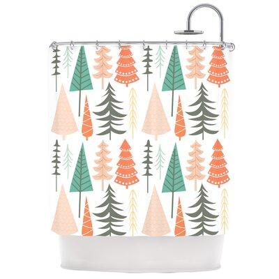 Happy Forest Shower Curtain Color: Orange