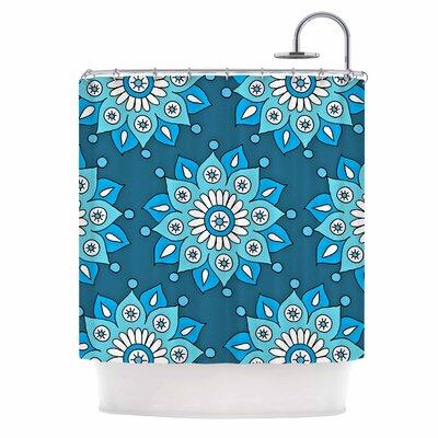 Flower Burst Shower Curtain Color: Blue