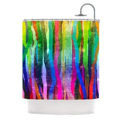 Jungle Stripes Shower Curtain Color: Pink