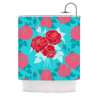 Summer Rose Shower Curtain Color: Red