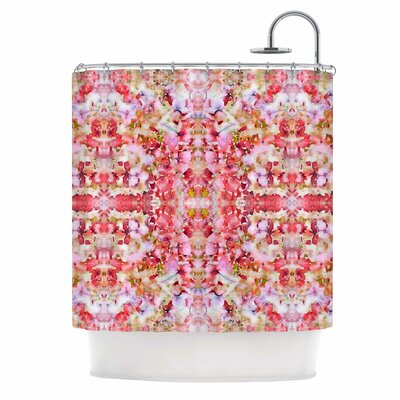 Floral Reflections Shower Curtain Color: Pink / Red