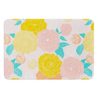 "Peonies by Anneline Sophia Bath Mat Color: Peach, Size: 24"" W x 36"" L"
