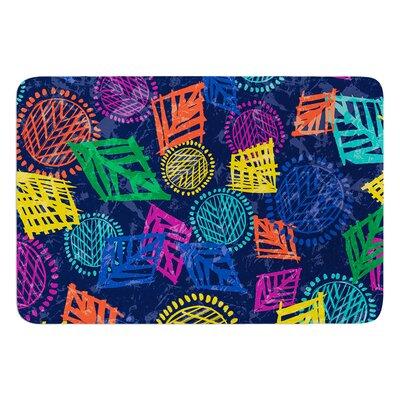 "African Beat by Emine Ortega Bath Mat Color: Blue, Size: 24"" W x 36"" L"
