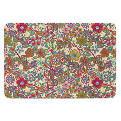 """My Butterflies and Flowers by Julia Grifol Bath Mat Color: Yellow, Size: 24"""" W x 36"""" L"""