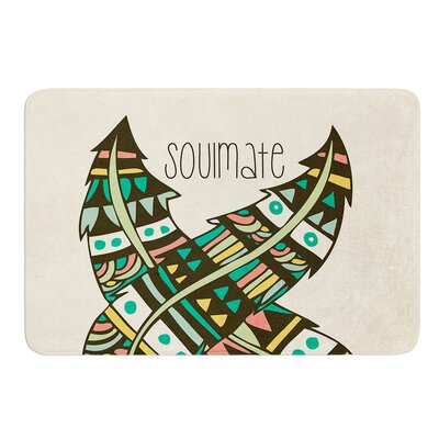 Soulmate Feathers by Pom Graphic Design Bath Mat