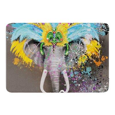 """My Elephant with Headdress by Geordanna Cordero-Fields Bath Mat Size: 17""""W x 24""""L"""