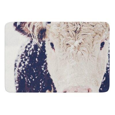 "Snowy Cow by Debbra Obertanec Bath Mat Size: 17""W x 24""L"