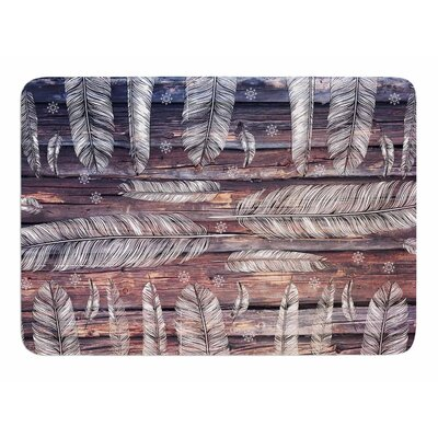 Snowflakes and Feathers by Suzanne Carter Memory Foam Bath Mat