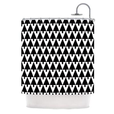 Happy X-Mas by Gabriela Fuente Geometric Shower Curtain Color: Black