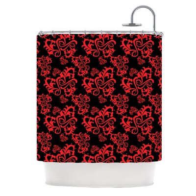 Sweetheart Damask by Mydeas Shower Curtain Color: Black/Red