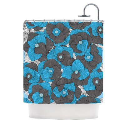 In Bloom by Skye Zambrana Floral Shower Curtain Color: Blue/Gray