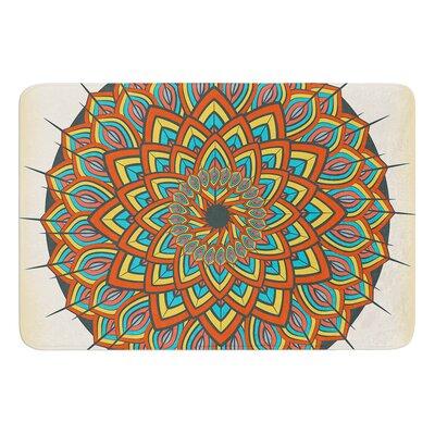 """Floral Mandala by Famenxt Bath Mat Size: 24"""" W x 36"""" L"""