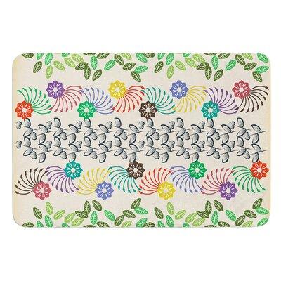 "Flowers and Leaves Pattern by Famenxt Bath Mat Size: 17""W x 24""L"