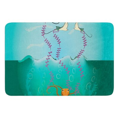 "Octopus Flying Manta Rays by Famenxt Bath Mat Size: 17""W x 24""L"