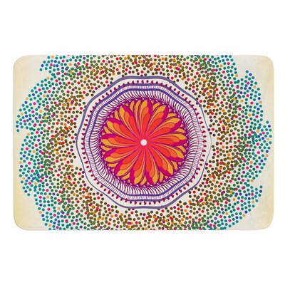 "Confetti Dots Mandala by Famenxt Bath Mat Size: 17""W x 24""L"