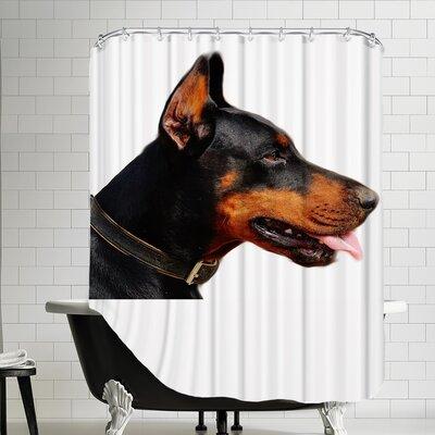 Polyester Doberman Dog Pet Friend Shower Curtain