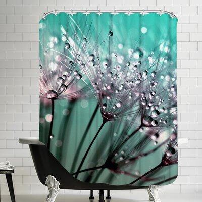 Dandelion Flower Polyester Water Drops Shower Curtain
