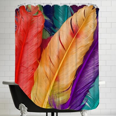 Colorful Bird Feather Shower Curtain
