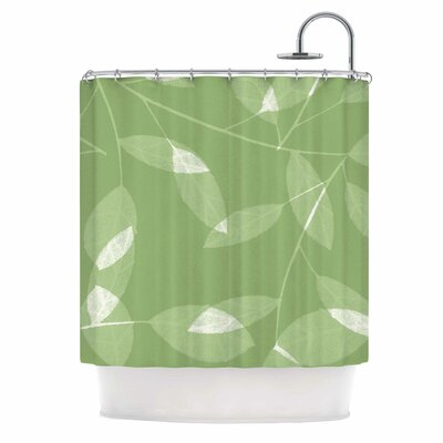Leaf by Alison Coxon Shower Curtain Color: Green
