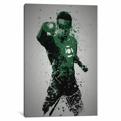 """'Pop Culture Splatter Series: in Brightest Day, in Blackest Night' Graphic Art Print on Wrapped Canvas Size: 18"""" H x 12"""" W x 0.75"""" D"""