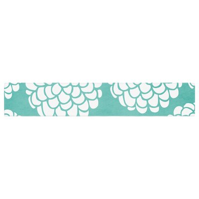 "Pom Graphic Design Hydrangea's Blossoms Circles Table Runner Size: 90"" W x 16"" L"