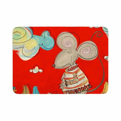 """Carina Povarchik Urban Mouse Memory Foam Bath Rug Size: 0.5"""" H x 17"""" W x 24"""" D, Color: Red/Teal"""