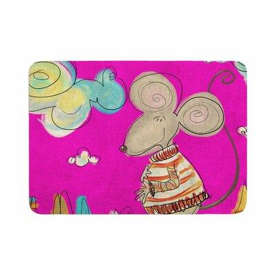 "Carina Povarchik Urban Mouse Memory Foam Bath Rug Size: 0.5"" H x 24"" W x 36"" D, Color: Magenta/Pink"