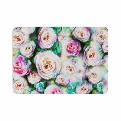 "Dawid Roc Bright Rose Floral Abstract Floral Memory Foam Bath Rug Size: 0.5"" H x 17"" W x 24"" D"