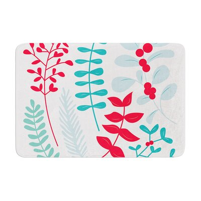 """Deck the Hollies Memory Foam Bath Rug Size: 0.5"""" H x 17"""" W x 24"""" D, Color: Red/Teal"""