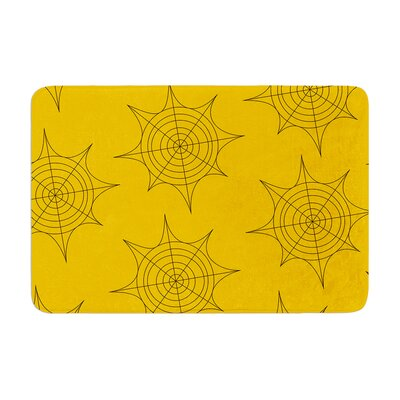 """Spiderwebs Memory Foam Bath Rug Color: Yellow, Size: 0.5"""" H x 17"""" W x 24"""" D"""