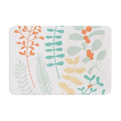"Deck the Hollies Memory Foam Bath Rug Size: 0.5"" H x 24"" W x 36"" D, Color: Orange/Teal"