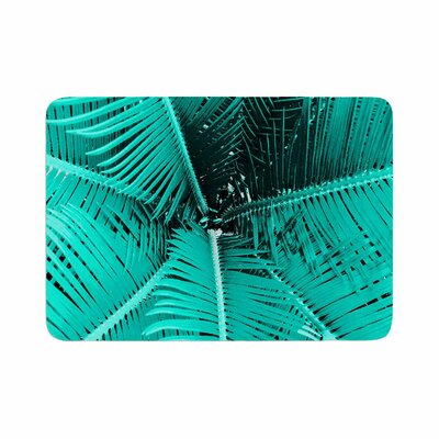 """Suzanne Carter Palm Memory Foam Bath Rug Size: 0.5"""" H x 24"""" W x 36"""" D, Color: Aqua"""