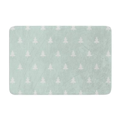 "Snap Studio Pine Pattern Memory Foam Bath Rug Size: 0.5"" H x 24"" W x 36"" D, Color: Aqua"