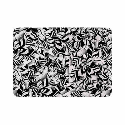 "Victoria Krupp Monochrome Leaves Mosaic Memory Foam Bath Rug Size: 0.5"" H x 17"" W x 24"" D"