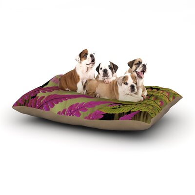 "Alison Coxon 'Forest Fern' Plant Dog Pillow with Fleece Cozy Top Size: Small (40"" W x 30"" D x 8"" H), Color: Mauve/Pink/Brown"