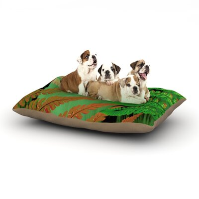"Alison Coxon 'Forest Fern' Plant Dog Pillow with Fleece Cozy Top Size: Small (40"" W x 30"" D x 8"" H), Color: Green/Brown"