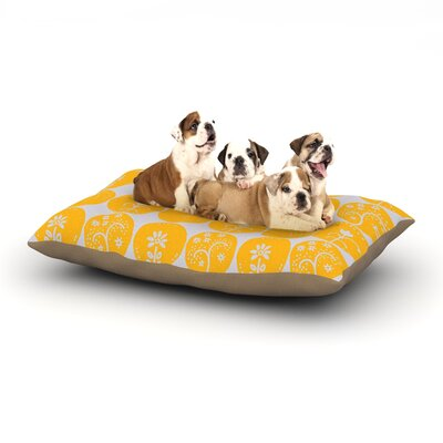 "Anneline Sophia 'Dotty Papercut' Circles Dog Pillow with Fleece Cozy Top Size: Small (40"" W x 30"" D x 8"" H), Color: Yellow/Gray"