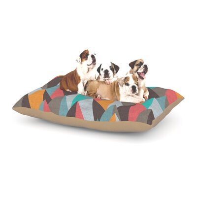 """Michelle Drew 'Mountain Peaks' Dog Pillow with Fleece Cozy Top Size: Small (40"""" W x 30"""" D x 8"""" H), Color: Orange/Teal"""