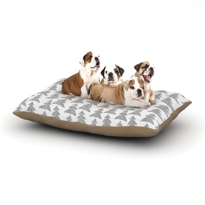"""Michelle Drew 'Herringbone Forest' Dog Pillow with Fleece Cozy Top Size: Small (40"""" W x 30"""" D x 8"""" H), Color: Black/Gray/White"""