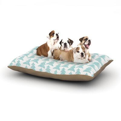 """Michelle Drew 'Herringbone Forest' Dog Pillow with Fleece Cozy Top Size: Small (40"""" W x 30"""" D x 8"""" H), Color: Teal/Blue"""