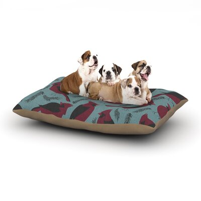 """Michelle Drew 'Red Winter Birds' Dog Pillow with Fleece Cozy Top Size: Small (40"""" W x 30"""" D x 8"""" H)"""