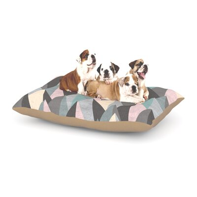 """Michelle Drew 'Mountain Peaks' Dog Pillow with Fleece Cozy Top Size: Small (40"""" W x 30"""" D x 8"""" H), Color: Pastel Gray/Pastel Pink"""