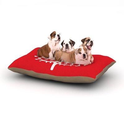 """Miranda Mol 'Deco Tree Red' Holiday Dog Pillow with Fleece Cozy Top Size: Small (40"""" W x 30"""" D x 8"""" H)"""