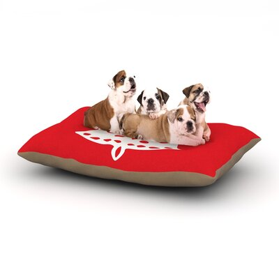 """Miranda Mol 'Jingle Bell Red' Holiday Dog Pillow with Fleece Cozy Top Size: Small (40"""" W x 30"""" D x 8"""" H)"""