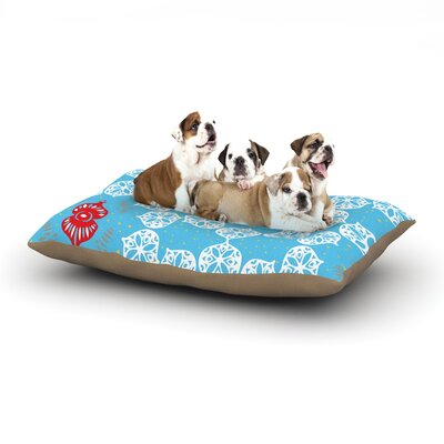 """Miranda Mol 'Frosted White' Holiday Dog Pillow with Fleece Cozy Top Size: Small (40"""" W x 30"""" D x 8"""" H)"""